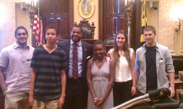 Kylah and Ezra with Councilman Mosby post-interview